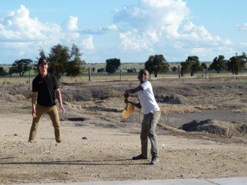 Nuffield Scholars are ever resourceful - playing cricket with stones and a spade