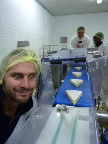 Lachie Green in a cheese factory, South Africa