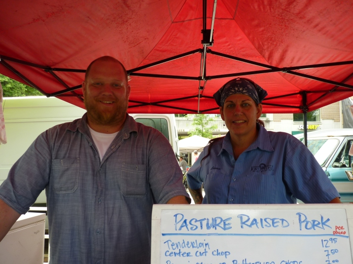 Eric & Carrie Johnson, Jordanal Farms selling their pasture raised meat at Madison Farmers' Market, Wisconsin