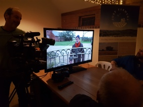 Pig farmer David Kemp delivers a piece to camera