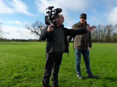 Phil directing poultry farmer Stephen Ware