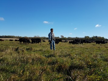Wade Dooley with his cows